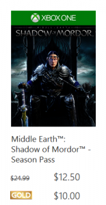 xbox shadows of mordor
